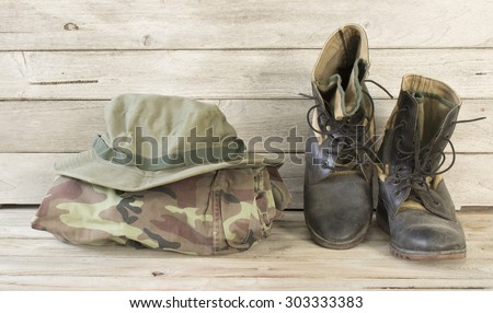 military caps,military boots and military shirt