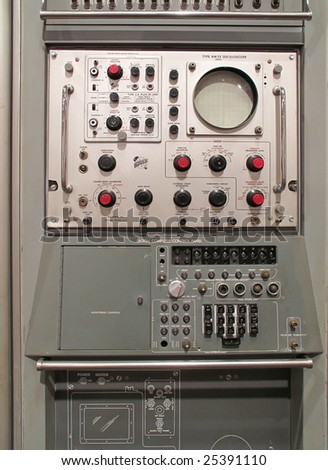 Military control panel - battleship WWII - stock photo