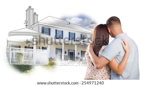 Military Couple Looking At House Drawing and Photo Combination on White. - stock photo
