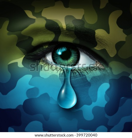Military depression mental health concept and casualty of war symbol as a crying human eye tear with green camouflage transforming into a blue mood as a metaphor for veteran healthcare.