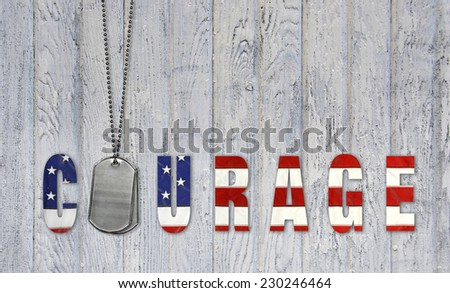 military dog tags with American flag courage - stock photo