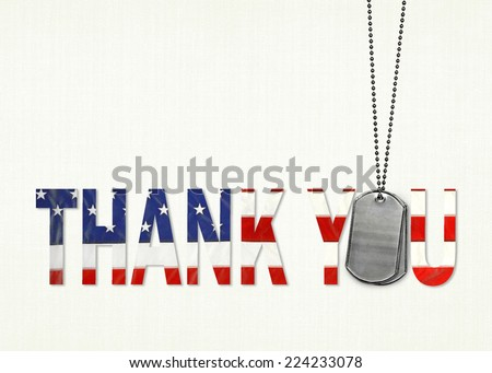 military dog tags with flag thank you on textured background - stock photo