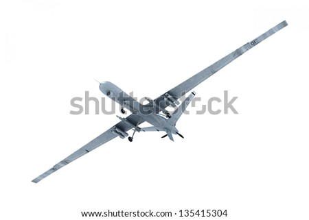 Military drone isolated on white background flying - stock photo