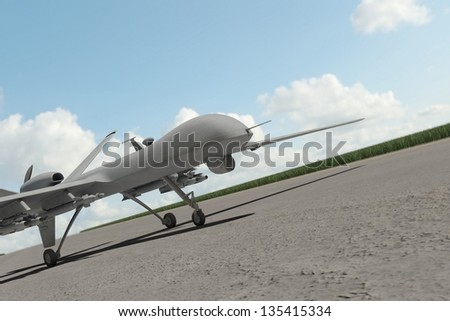 Military drone standing on runway with clouds in the sky - stock photo