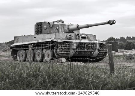 Military equipment since World War II. German tank.Tigr - stock photo