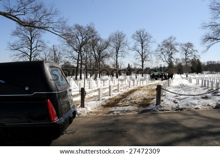 Military funeral at the Arlington National Cemetery in Virginia - stock photo