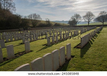 Military Grave Yard in France (world war one) - stock photo