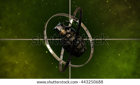 Military Grenade with Sight Target. 3D Illustration. - stock photo