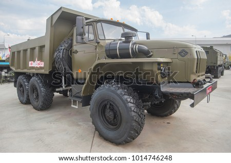 MILITARY GROUND ALABINO, MOSCOW OBLAST, RUSSIA - Aug 22, 2017: Russian cargo truck Ural-5557 International military-technical forum Army-2017, front view-right