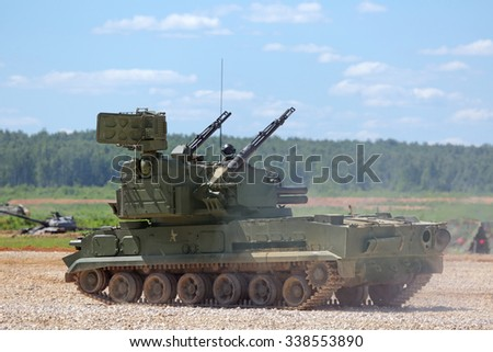 MILITARY GROUND ALABINO, RUSSIA - JUN 18, 2015: The Tunguska (SA-19 Grison) is a Russian anti-aircraft weapon armed gun and missile system at the International military-technical forum ARMY-2015 - stock photo