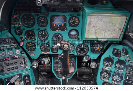 Military helicopter cockpit - stock photo