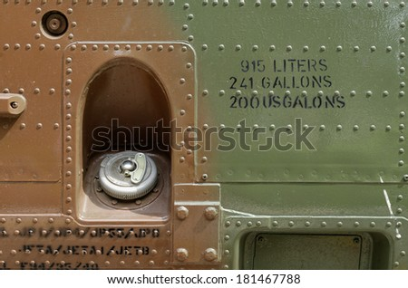 military helicopter fuel cap - stock photo