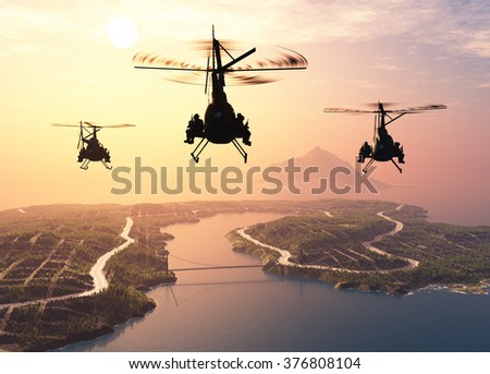 Military helicopter over the island .. - stock photo