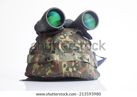 Military helmet and binoculars isolate on a white background - stock photo