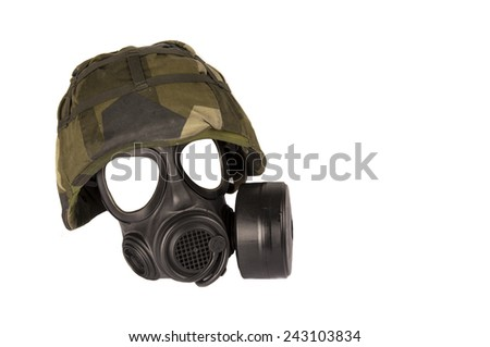military helmet with gasmask isolated on white background - stock photo