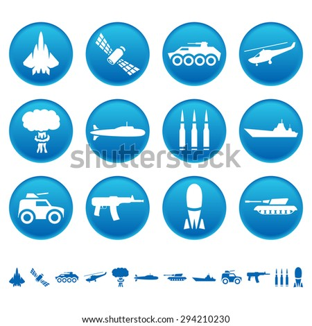 Military icons - stock photo