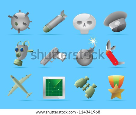 Military icons. Raster version. Vector version is also available. - stock photo