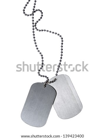 Military ID tags isolated on white background - stock photo