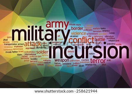 Military incursion word cloud concept with abstract background - stock photo