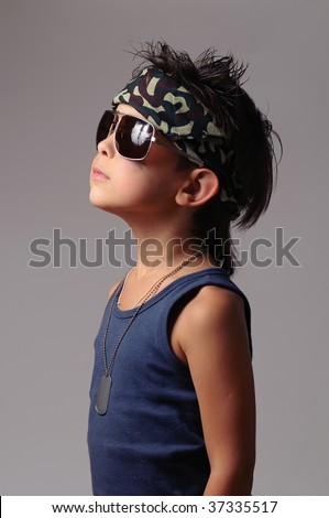 Military kid in bandana with dog tag