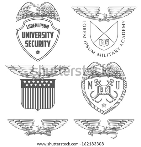 Military labels, badges and design elements - stock photo