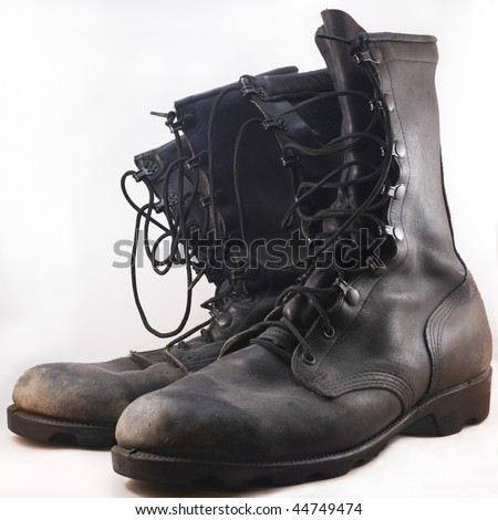 Military Leather Combat Boots On White Stock Photo 44749474 ...