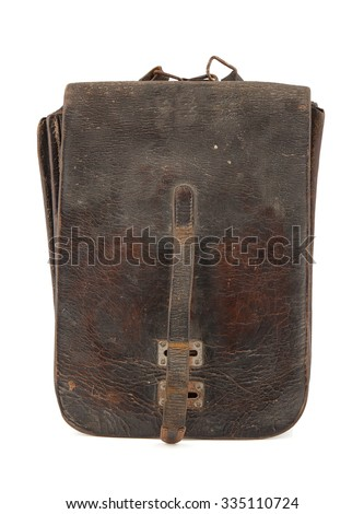Military leather map-case of the soviet officer isolated on white background - stock photo