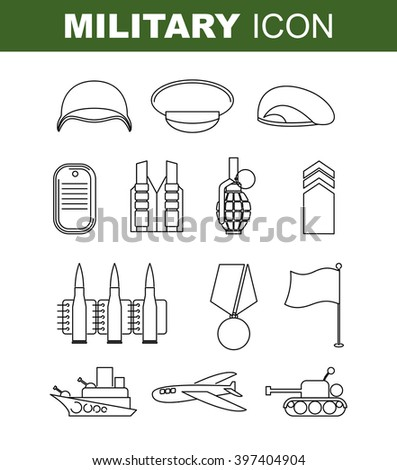 Military line icon. Set army symbol. Soldiers helmet. Green beret. Tank and battleship. Medal for bravery and Flagstaff. Cartridge belt and  bursting grenade.