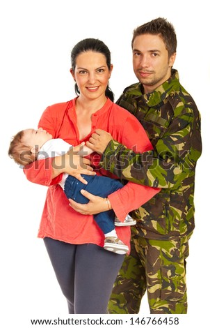 Military man and his family standing in embrace isolated on white background - stock photo