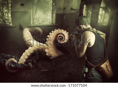 Military man shoots machine gun in the tentacles of octopus, getting out of the basement at home - stock photo