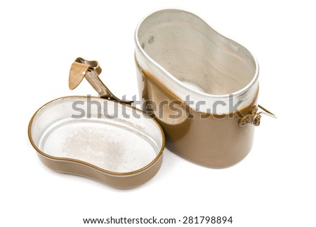 Military mess kit on white background