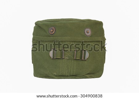 Military mess kit with Used Green Cover isolated on a white background - stock photo