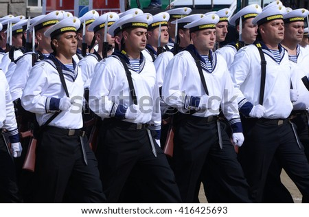 Military parade in Varna, Bulgaria celebrating May 6, the Day of Saint George the Victorious, and the Day of the Bulgarian Army. May 6, 2016 in Sofia, Bulgaria