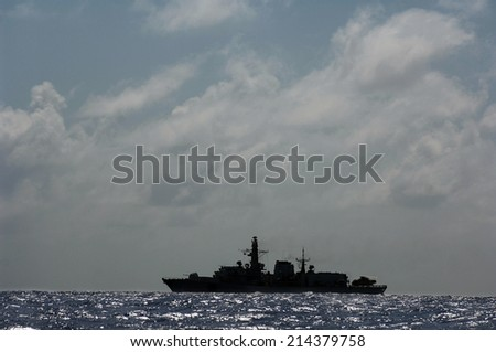 military patrol ship on the high seas against pirates and terrorists