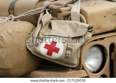 Military pharmacy kit - stock photo