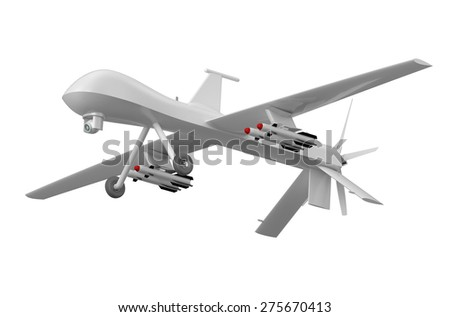 Military Predator Drone Isolated On White Background