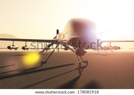 Military Predator Type Drones Base - stock photo