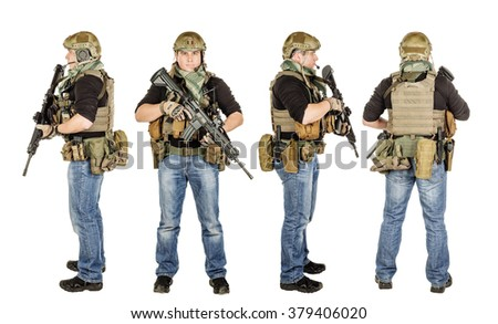 military, profession, people and war concept - set image male soldier with a rifle on a white wall - stock photo