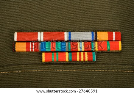 Military ribbons awards on russian army uniform  - stock photo