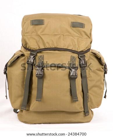 Military rucksack isolated on white - stock photo