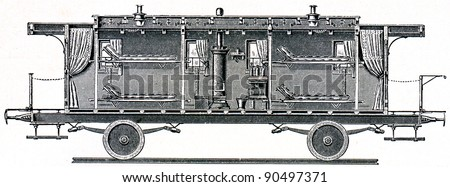 Military sanitation. Wagon for patients Prussian hospital train (longitudinal section)  - an illustration of the encyclopedia publishers Education, St. Petersburg, Russian Empire, 1896 - stock photo