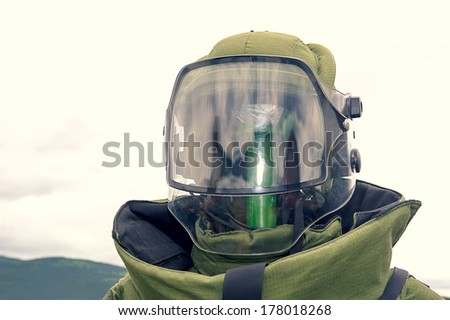 Military sapper suit mask, isolated and on a stand - stock photo