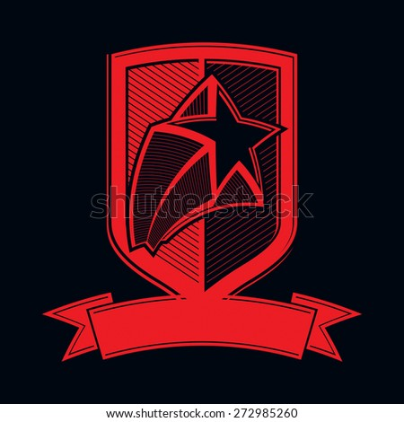 military shield with pentagonal comet star, protection heraldic sheriff blazon. Ussr communistic conceptual symbol. Forces graphical coat of arms. Soviet Union theme. - stock photo