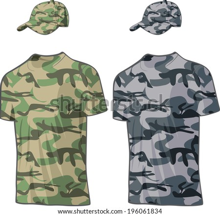 Military Shirts and caps templates. Raster version - stock photo