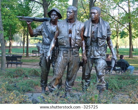 Military Statue at Veterans memorial wall in DC