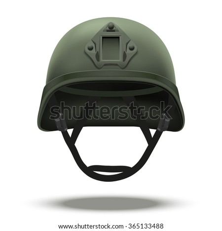 Military tactical helmet of rapid reaction. Green color. Army and police symbol of defense.  illustration Isolated on white background.