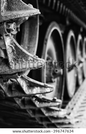 Military tank close up - black & white. - stock photo