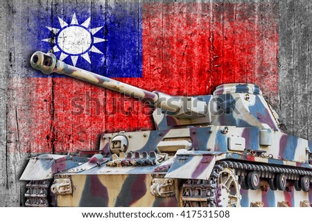Military tank with concrete Taiwan flag  - stock photo