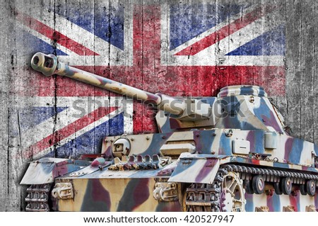 Military tank with concrete United Kingdom flag