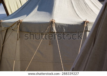 Military tent camp at the historic festival